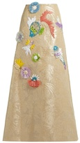DELPOZO Fish-embroidered jacquard maxi skirt