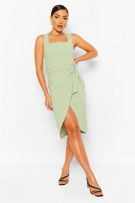 boohoo Square Neck Wrap Midi Dress
