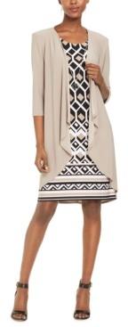 R & M Richards Petite Print Dress & Draped-Front Jacket