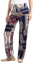 Glam Blue & Tan Scarf-Print Straight-Leg Maternity Pants