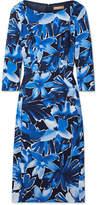 Michael Kors Floral-print Stretch-cady Midi Dress - Blue