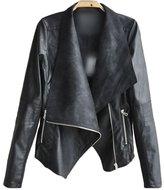 DOKER Women's Slim Fit Motorcycle Lapel Zipper Faux leather jacket L