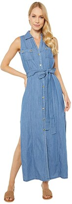 MICHAEL Michael Kors Sleeveless Maxi Shirtdress (Indigo) Women's Dress