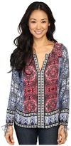 Lucky Brand Long Sleeve Top with Border Print
