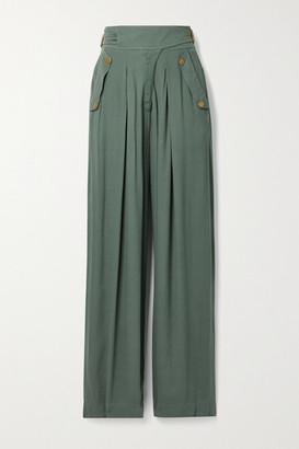 Ulla Johnson Felix Crepe Wide-leg Pants - Gray green