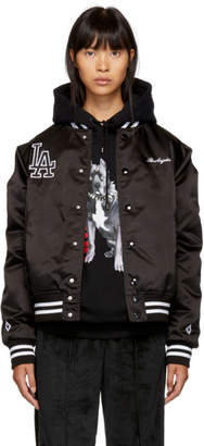 Marcelo Burlon County of Milan Black LA Dodgers Edition Bomber Jacket