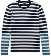 Michael Kors - Colour-block Striped Merino Wool T-shirt