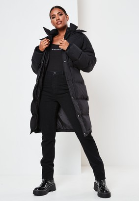 Missguided Black Longline Padded Oversized Puffer Coat