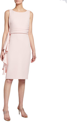 Badgley Mischka Side Ruffle Sleeveless Sheath Dress