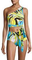 Emilio Pucci Two-Piece Fiore Maya One Shoulder High-Rise Bikini