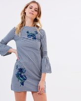 Warehouse Gingham Embroidered Shirt Dress