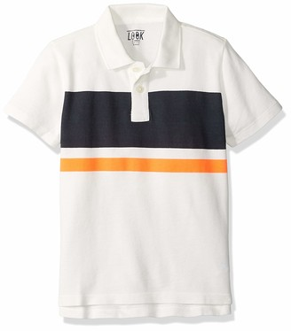 LOOK by crewcuts Boys' Short Sleeve Polo Rugby Stripe/Navy Medium (8) US