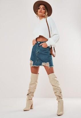 Missguided Blue Ripped Hem Straight Fit Denim Skirt