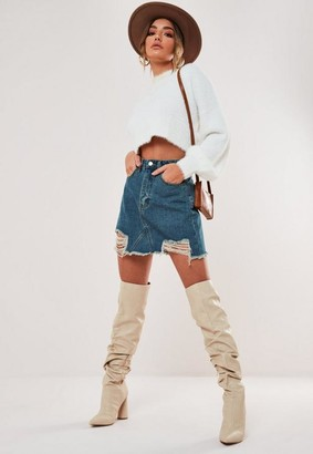 Missguided Ripped Hem Straight Fit Denim Skirt