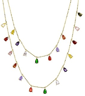 Aqua Multi-Stone Layered Pendant Necklace in Sterling Silver or Gold-Tone Sterling Silver, 16 - 100% Exclusive