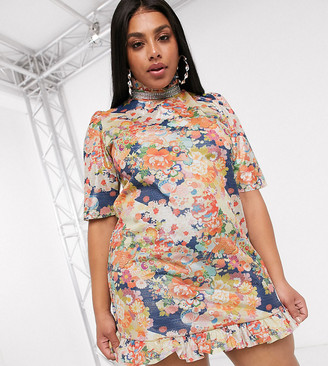 New Girl Order Curve high neck mini dress with puff sleeves and ruffle bottom & diamante collar-Multi