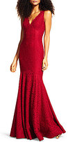Adrianna Papell Scalloped Lace Sleeveless V-Neck Mermaid Gown