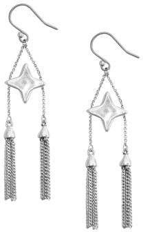 Lucky Brand Ethereal Accents Silvertone Star & Tassel Arch Drop Earrings