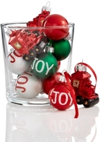 Holiday Lane Set Of 12 Mini Shatterproof Joy & Train Ornaments, Created for Macy's