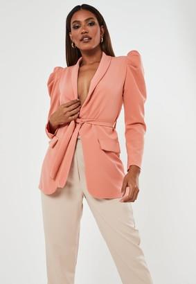 Missguided Peach Puff Sleeve Belted Blazer