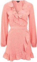 Topshop Spotted Ruffle Wrap Tea Dress