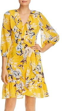 Adrianna Papell Floral Print Ruffled Dress - 100% Exclusive
