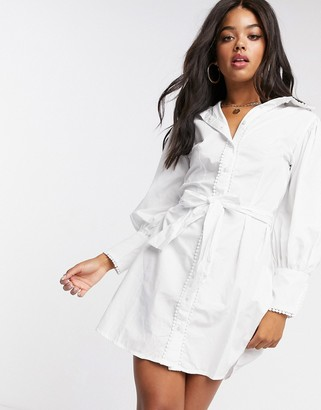 Girl In Mind contrast pearl detail shirt dress with belt in white