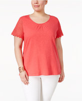 Charter Club Plus Size Lace-Sleeve Top, Only at Macy's