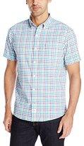 Izod Men Saltwater Dockside Chambray Plaid Short Sleeve Shirt