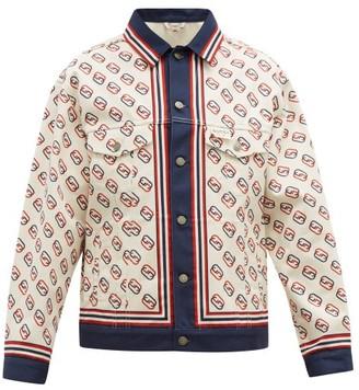 Gucci Gg-print Denim Jacket - Mens - White Multi