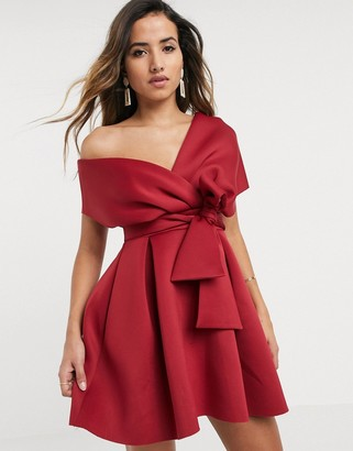 Asos DESIGN fallen shoulder skater mini dress with tie detail