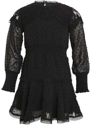 Bardot Junior Girl's Embroidered Dot A-Line Puff-Sleeve Dress