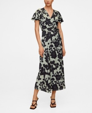 MANGO Embossed Flower Gown Dress