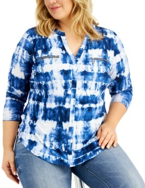 INC International Concepts Inc Plus Size Tie-Dye Zip-Pocket Top, Created for Macy's