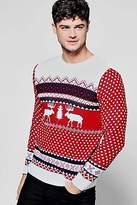 Boohoo Mens Red Reindeer Fairisle Christmas Jumper in Red size S