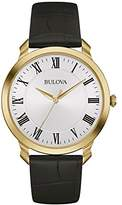Bulova Men's Designer Watch Leather Strap - White Dial Gold Classic Dress Wrist Watch 97A123
