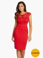 Jessica Wright Lace Top Fitted Dress - Red