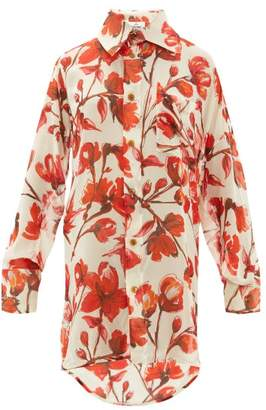 Vivienne Westwood Lottie Rose Printed Silk-georgette Shirt - Womens - Cream Multi