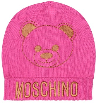 MOSCHINO BAMBINO Embroidered cotton-blend beanie