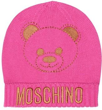 MOSCHINO BAMBINO Embroidered cotton-blend beanie