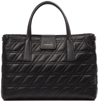 Zanellato Black Duo Metropolitan S Zeta Leather Bag