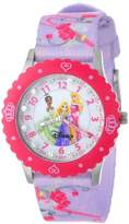 Disney Kids' W000386 Glitz Princess Stainless Steel Time Teacher Watch With Printed Band