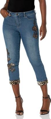 Slim Sation SLIM-SATION Women's Print Crop Jean