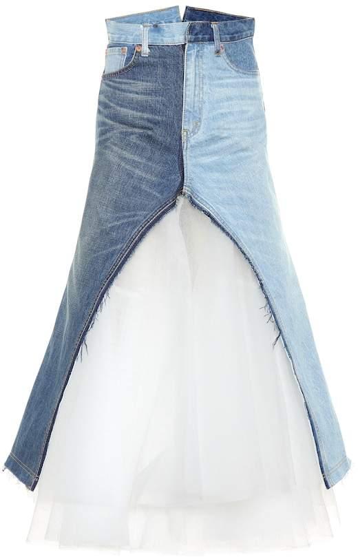 Junya Watanabe Denim and tulle maxi skirt
