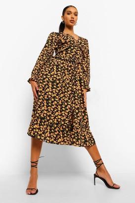 boohoo Floral Ruffle Front Smock Dress