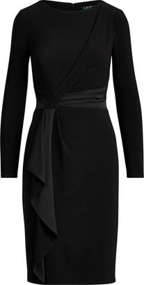 Ralph Lauren Satin-Trim Long-Sleeve Dress