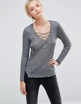 Brave Soul Tie Front Knitted Top