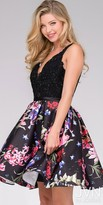 JVN by Jovani V-Neck Floral Lace Fit and Flare Homecoming Dress