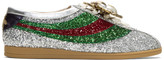 Gucci Silver Sylvie Glitter Web Competition Sneakers