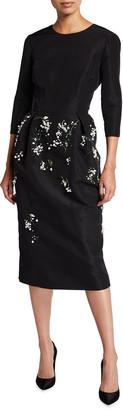 Carolina Herrera Floral 3/4-Sleeve Silk Cocktail Dress